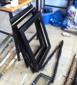 Old picture frames and table legs. Work in progress