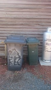 Bins outside my shack